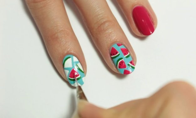 Step 5: Make Green Thin Lines At The Bottom Of The Watermelon Slices | Fruit Nail Art: Watermelon Slice Tutorial Perfect For Summer