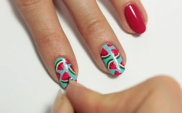 Step 6: Apply Dots On The Watermelon | Fruit Nail Art: Watermelon Slice Tutorial Perfect For Summer
