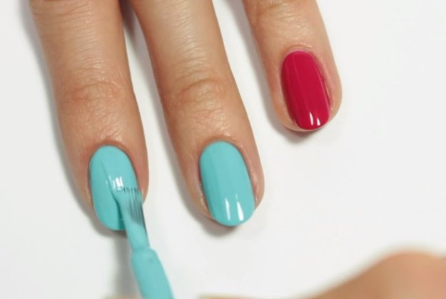 Step 2: Apply Light Blue Nail Polish | Fruit Nail Art: Watermelon Slice Tutorial Perfect For Summer