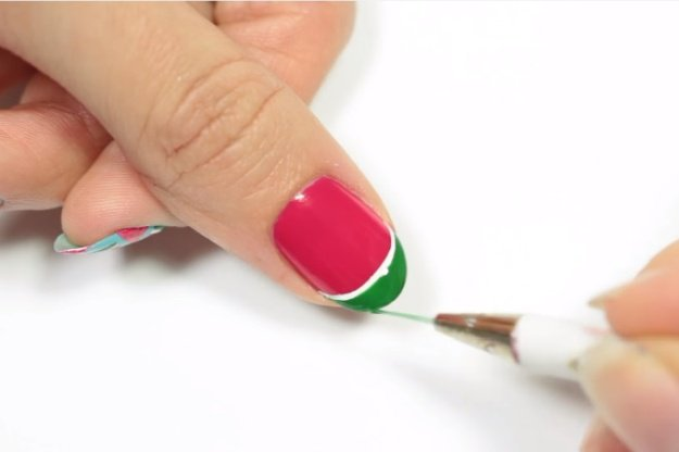 Step 8: Apply The Green Nail Polish At The Tip Of The Nail |Fruit Nail Art: Watermelon Slice Tutorial Perfect For Summer