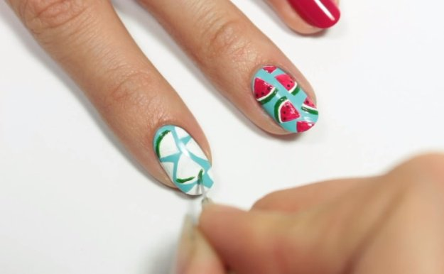 Step 4: Make Green Thin Lines At The Bottom Of The Watermelon Slices | Fruit Nail Art: Watermelon Slice Tutorial Perfect For Summer