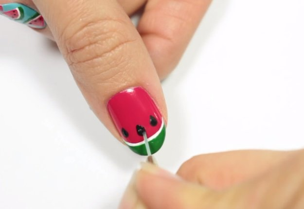 Watermelon Seeds | Fruit Nail Art: Watermelon Slice Tutorial Perfect For Summer