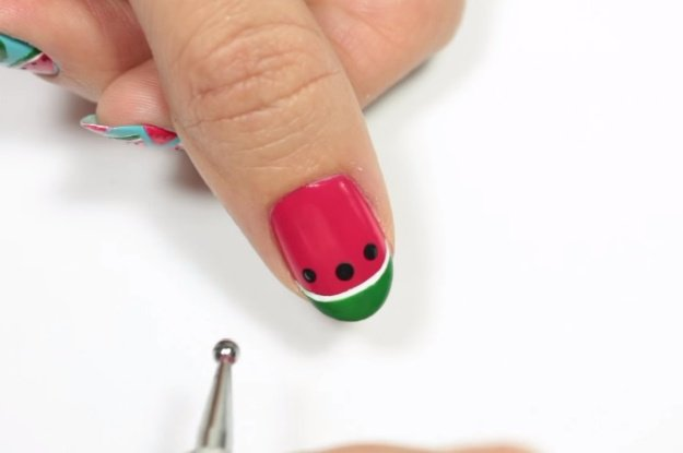Step 9: Create The Watermelon Seeds | Fruit Nail Art: Watermelon Slice Tutorial Perfect For Summer