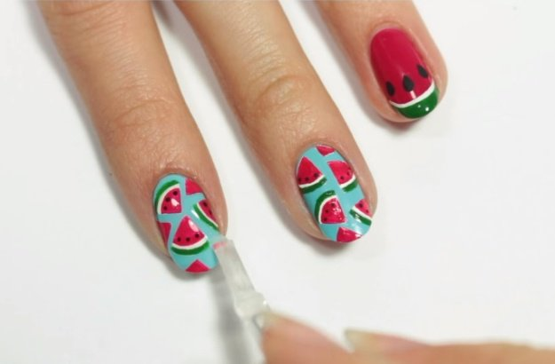 Step 10: Add Quick Drying Top Coat | Fruit Nail Art: Watermelon Slice Tutorial Perfect For Summer