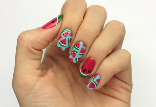 Finished Fruit Nail Art Design | Fruit Nail Art: Watermelon Slice Tutorial Perfect For Summer