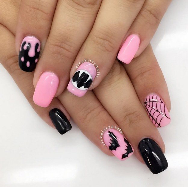 Pink Halloween Nails | Top 10 DIY Halloween Nail Art Ideas