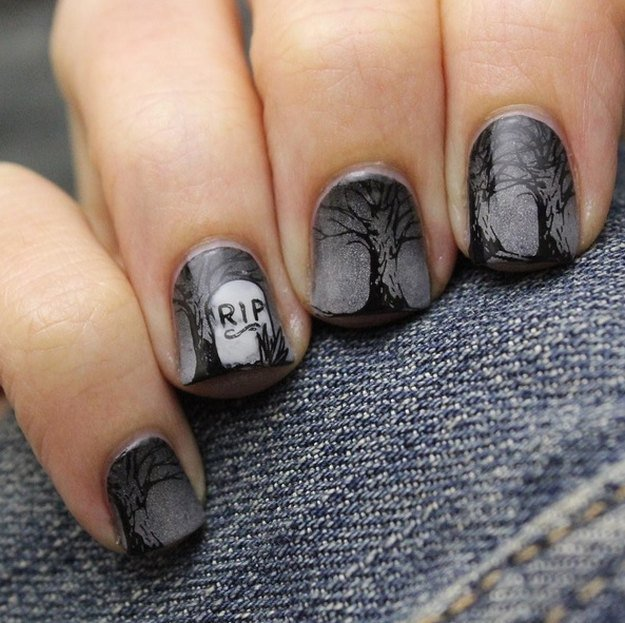Spooky Cemetery | Top 10 DIY Halloween Nail Art Ideas