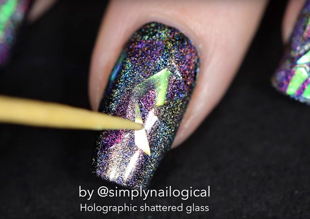 Step 4: Attach iridescent cellophane | Holographic Shattered Glass Nail Art Tutorial Even Beginners Can Do