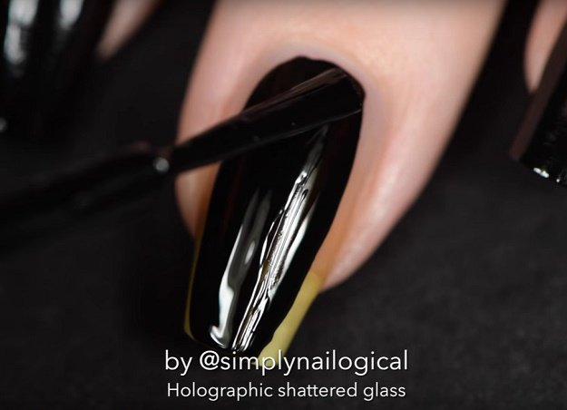 Step 2: Black base color | Holographic Shattered Glass Nail Art Tutorial Even Beginners Can Do