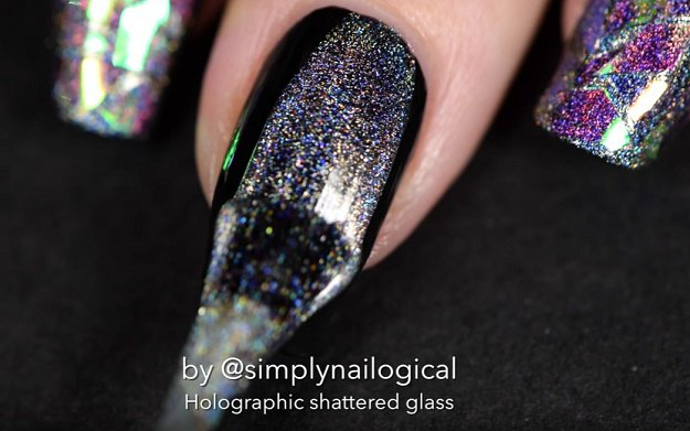 Step 3: Brush holographic top coat | Holographic Shattered Glass Nail Art Tutorial Even Beginners Can Do