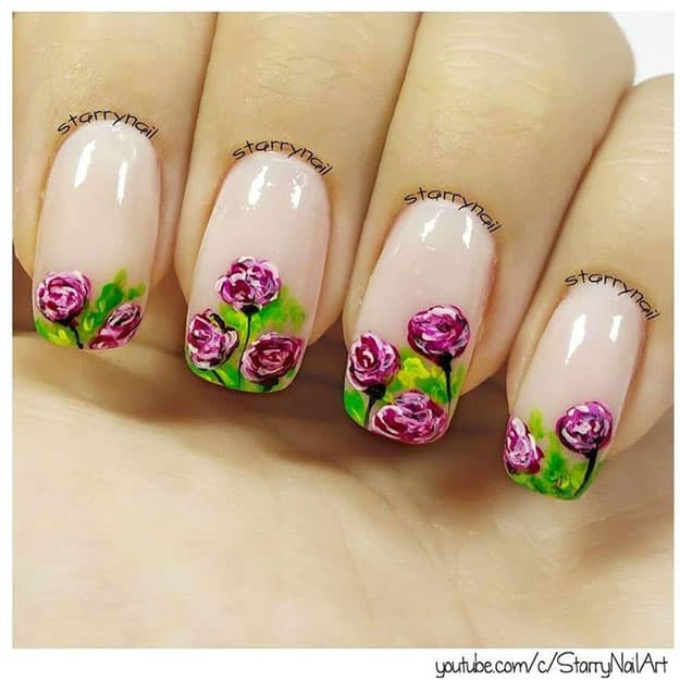 Handpainted Roses | 17 Gorgeous Spring Nail Designs