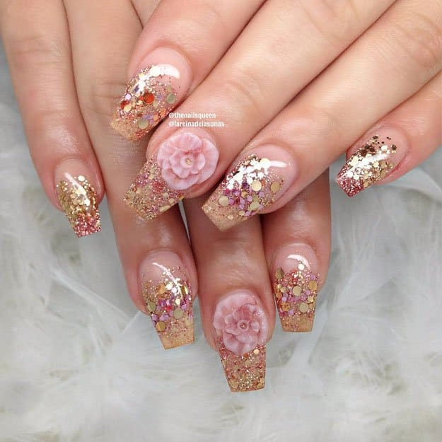 Roses And Glitter | 17 Gorgeous Spring Nail Designs