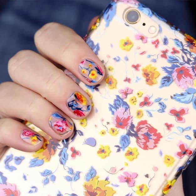 Floral Nails by Chelsea King | 17 Gorgeous Spring Nail Designs
