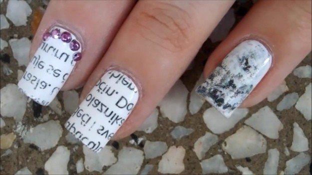 Manicure Hacks | Newspaper Nail Art | 32 Amazing Manicure Hacks You Should Know | Makeup Tutorials