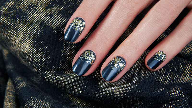 Gold Flakes- Nail Art