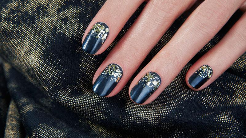Gold Flakes- Nail Art