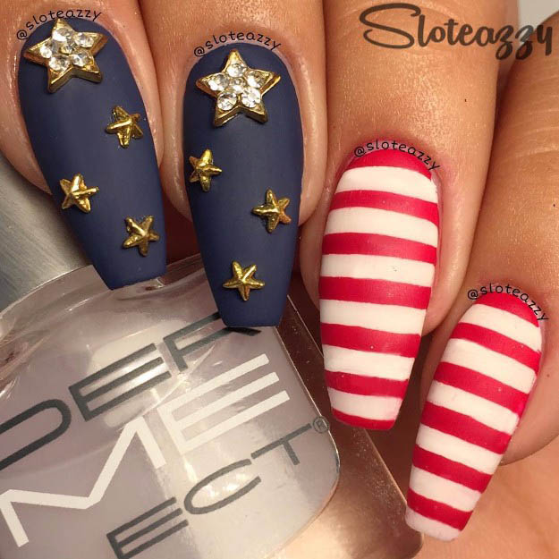 Accent stars | Fun 4th Of July Nail Designs To Show Your Love For America