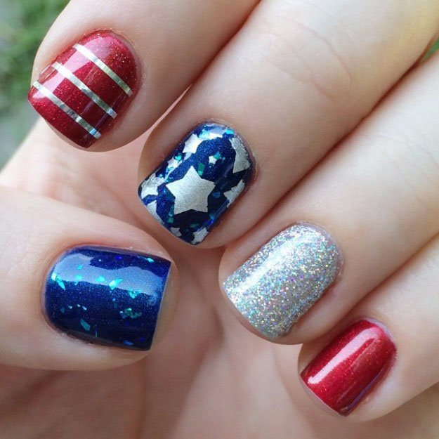 Unique Flag Design On Every Finger   Fun 4th Of July Nail Designs To Show Your Love For America