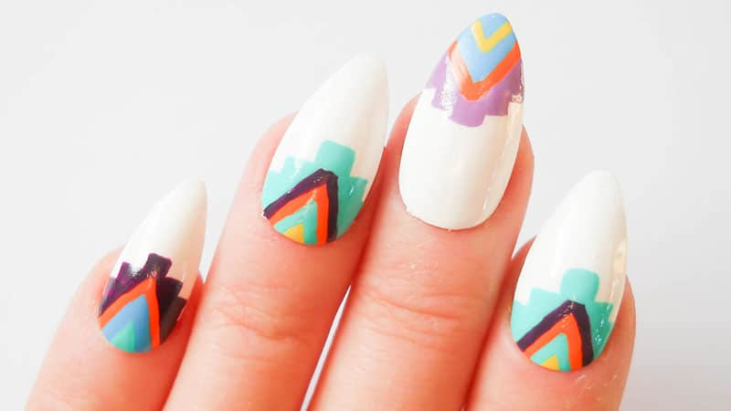 Tribal Almond Shaped Nails