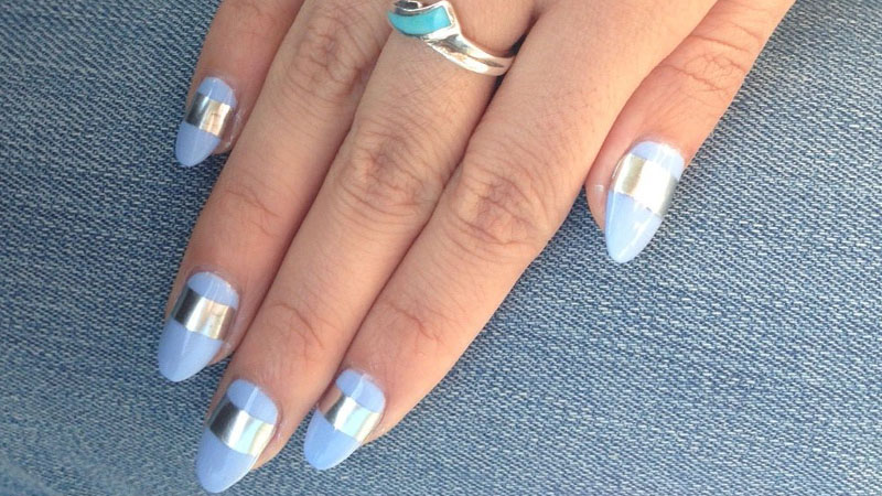 Almond Shaped Nails with Silver Stripe