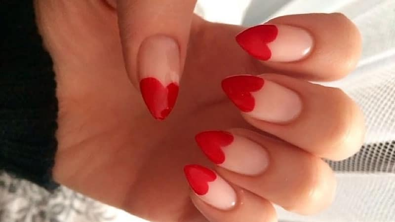 Love Heart Almond Shaped Nails