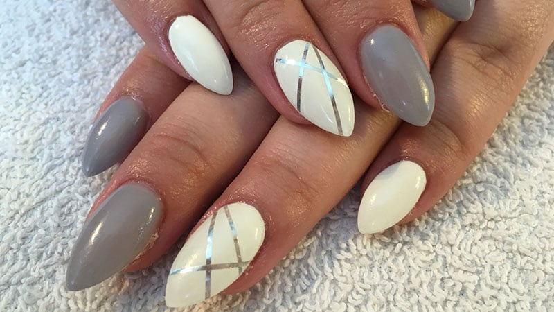 Striped Almond Shaped Nails