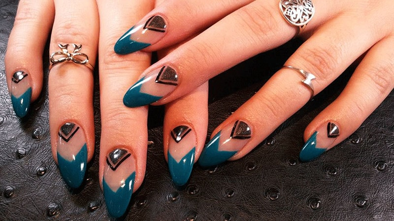 Almond Shaped Nails with Chevron Design