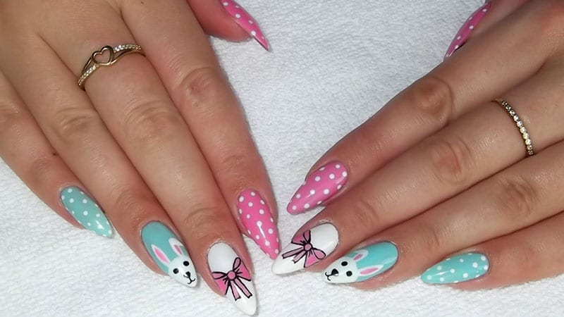 Almond Shaped Nails for Easter
