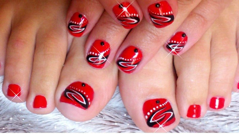Red and Black Toenails