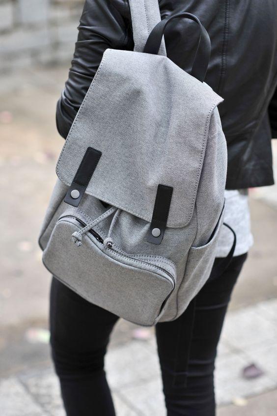 grey backpack long