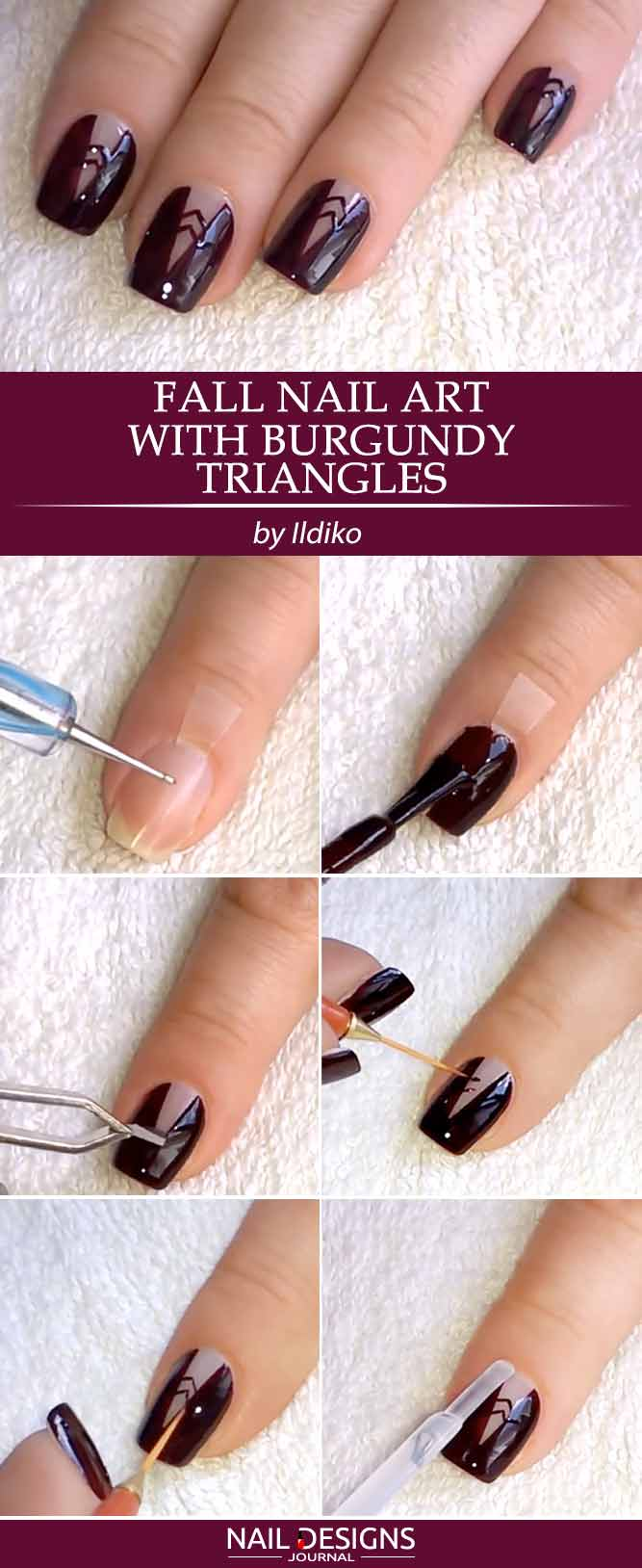 Fall Nail Art with Burgundy Triangles