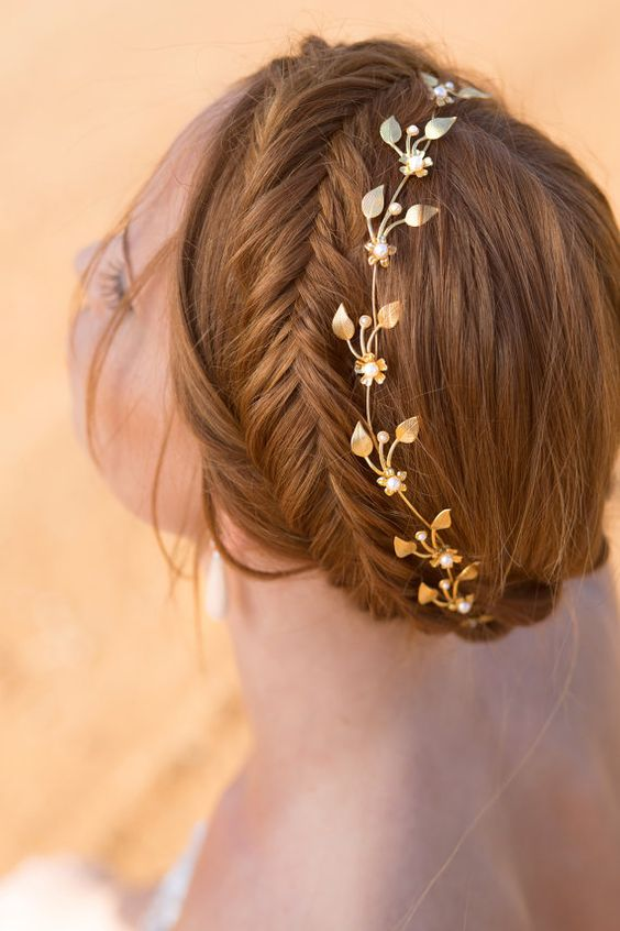 gold leave headpiece