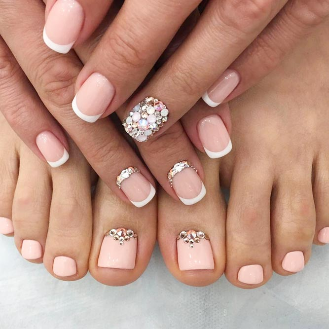 Toe Nail Art Designs with Gems and Rhinestones picture 1