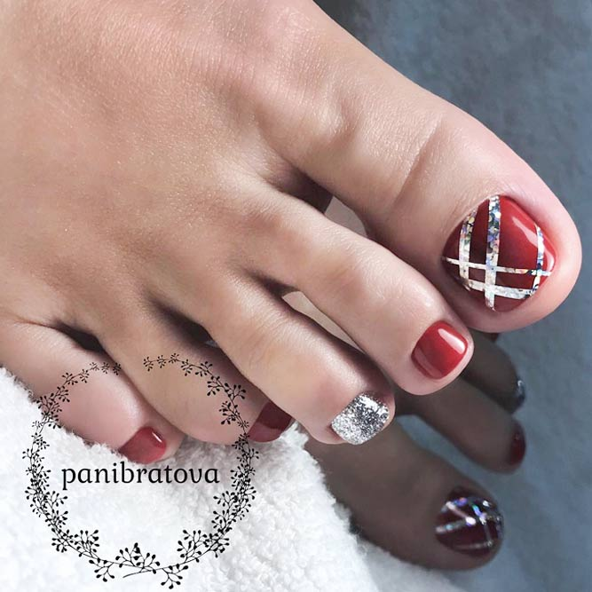 Toe Nail Design with Stripes picture 2