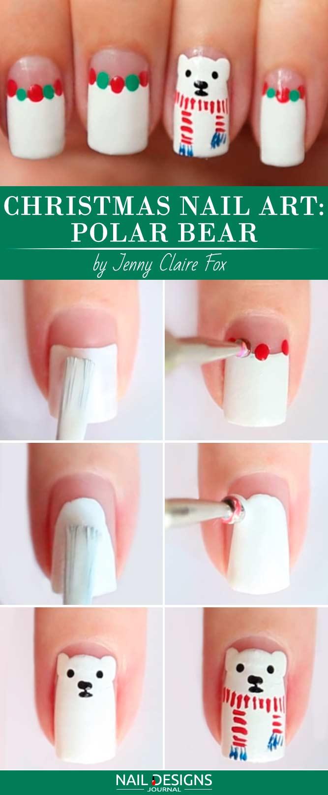 Christmas Nail Art Polar Bear