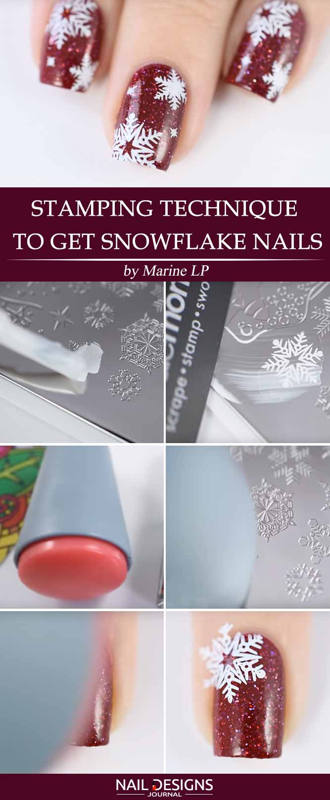 Stamping Technique to Get Snowflake Nails