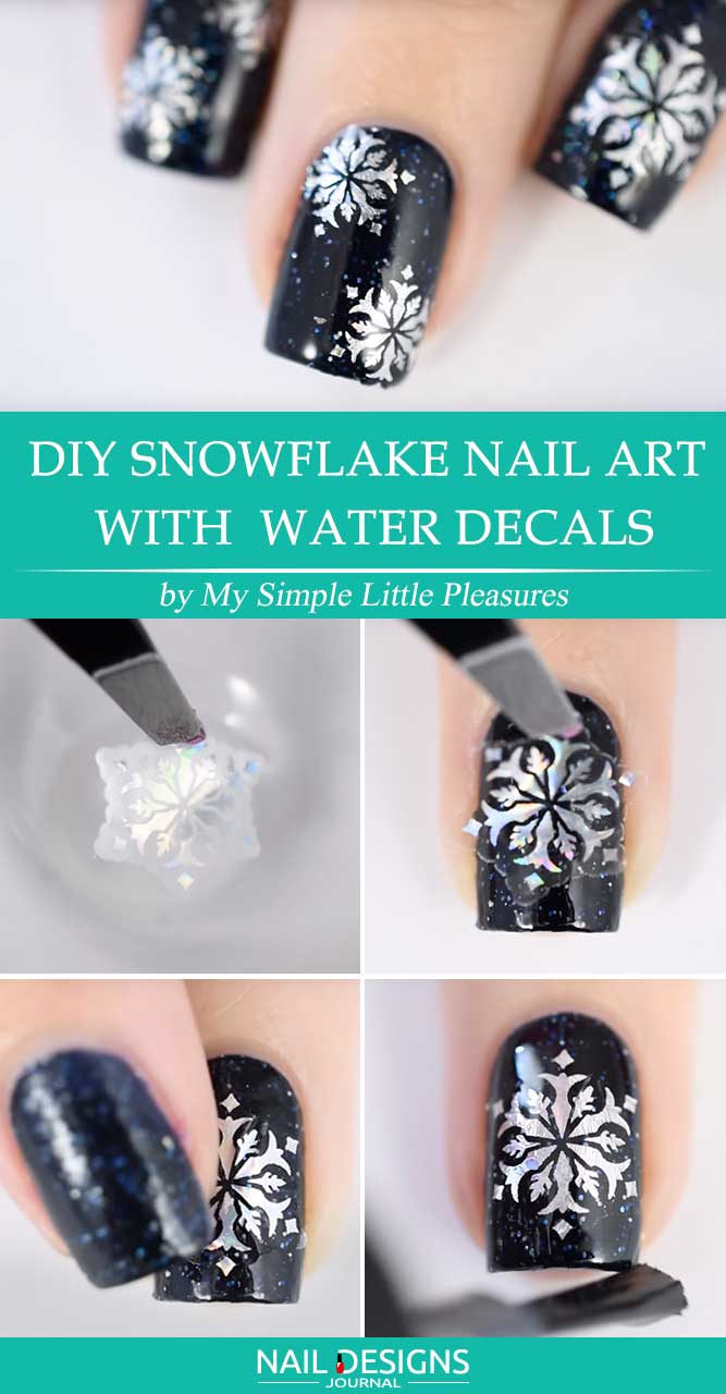 DIY Snowflake Nail Art with Water Decals