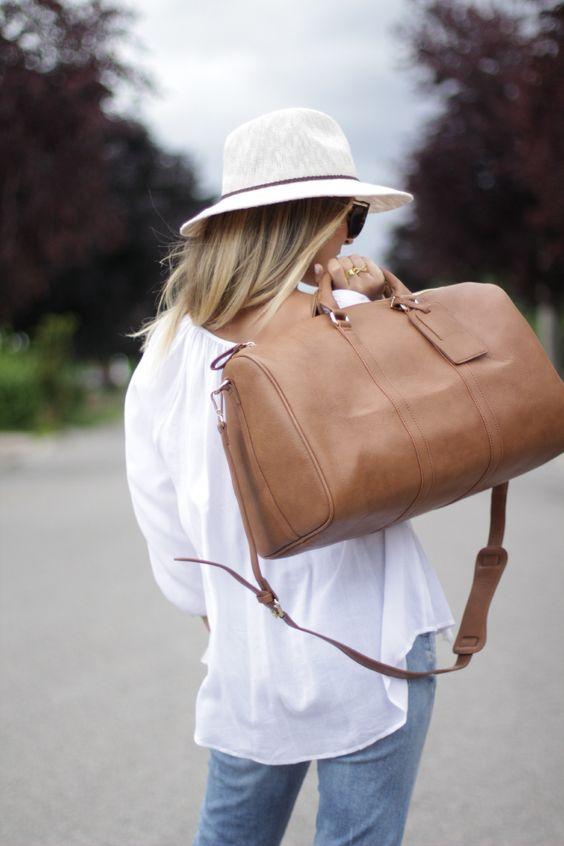light brown travel bag