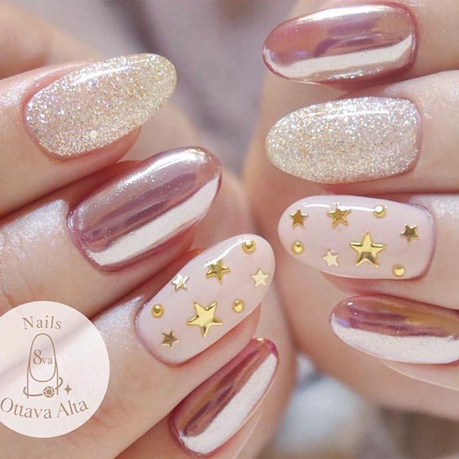 Easy Nail Designs with Star Sequins picture 2