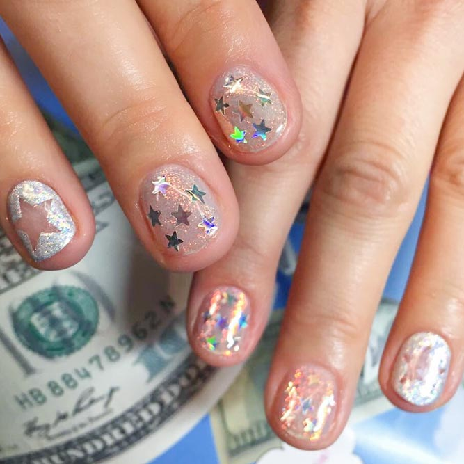 Easy Nail Designs with Star Sequins picture 3