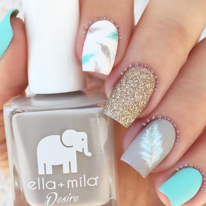 Cute Nail Designs with Sweet Feathers picture 3