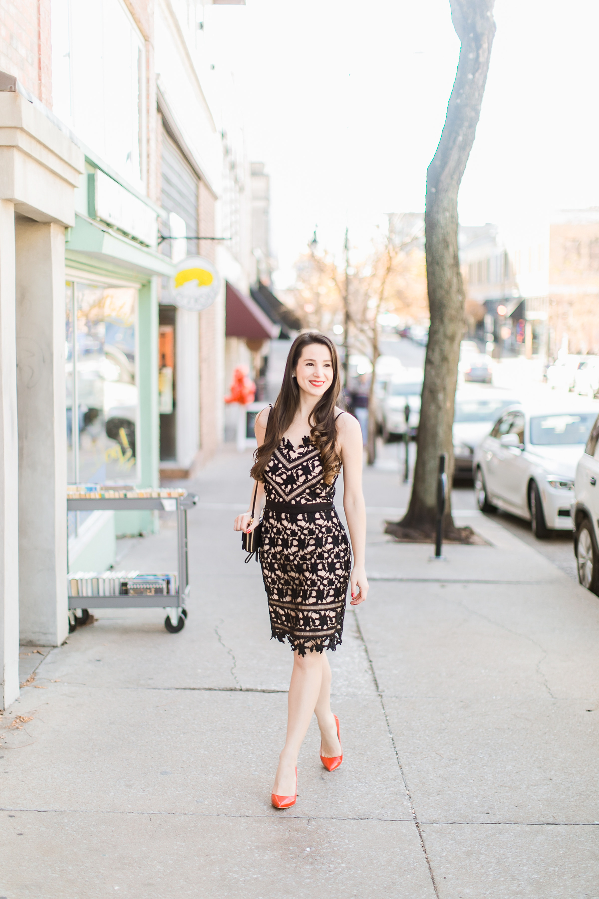 Adelyn Rae Whitney dress styled with a Vera Bradley RFID All-in-One Crossbody and Sam Edelman red patent leather pumps by southern fashion blogger Stephanie Ziajka from Diary of a Debutante