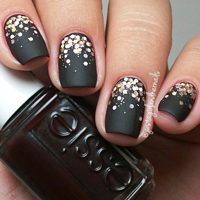 Matte Black Nails with Gold Sequins Designs picture 2