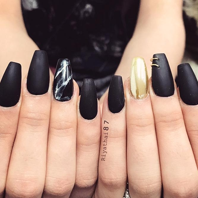 A Win Win Combination of Matte Black Nails and Marble Stone Design picture 1