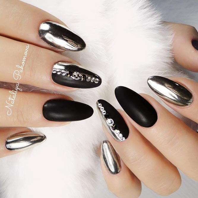 Matte Black Nails with Silver Sparkly Accents picture 2