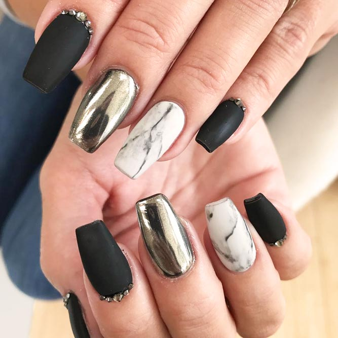 A Win Win Combination of Matte Black Nails and Marble Stone Design picture 2