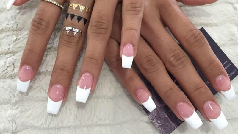 French Tip Coffin Nails