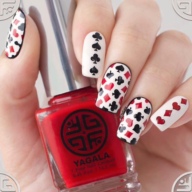 Playing Cards Nail Design For Extra Chick Look