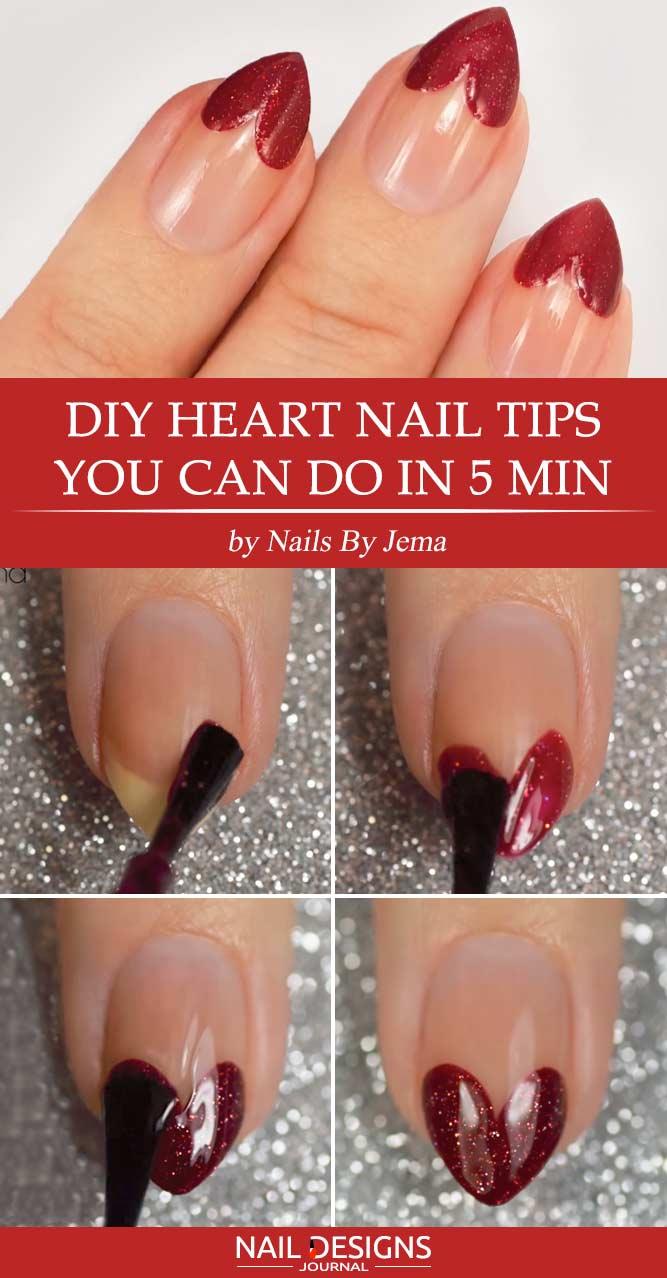 DIY Heart Nail Tips You Can do in 5 min