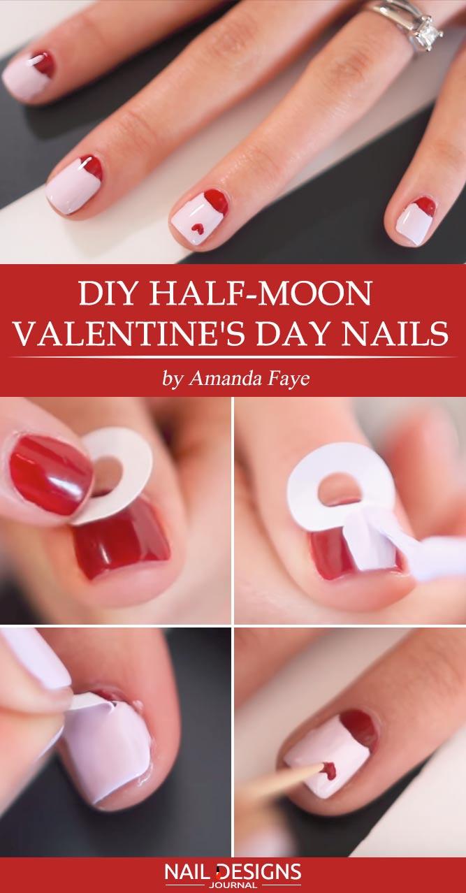 >DIY Half-Moon Valentines Nails Design